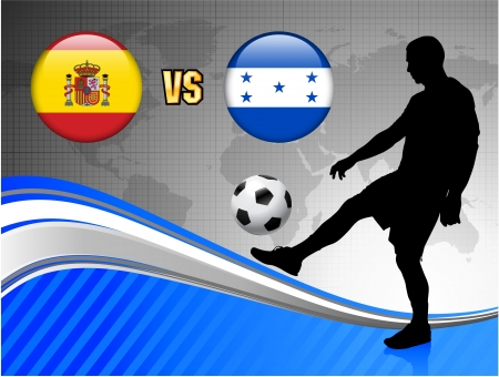 Spain versus Honduras on Blue Abstract World Map Background