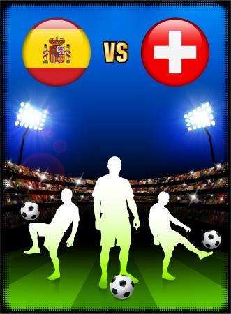 Spain versus Switzerland on Stadium Event BackgroundOriginal Illustration Stock Vector - 22491719
