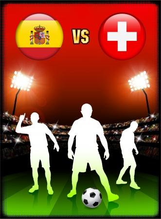 Spain versus Switzerland on Stadium Event BackgroundOriginal Illustration