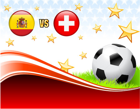 Spain versus Switzerland on Abstract Red Background with Stars