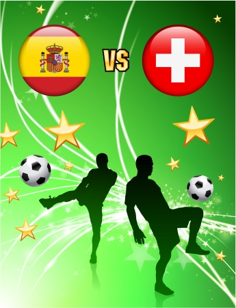 Spain versus Switzerland on Abstract Green Stars Background