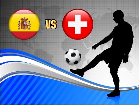 Spain versus Switzerland on Blue Abstract World Map Background Original Illustration