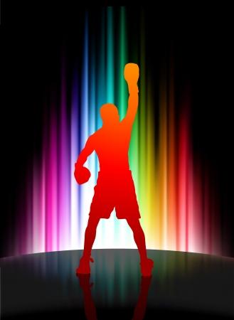 Championship Boxer on Abstract Spectrum Background Original Illustration Vector