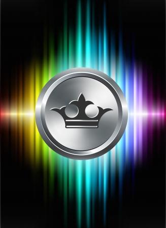 Crown Icon Button on Abstract Spectrum BackgroundOriginal Illustration 일러스트