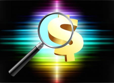 closer: Money Symbol on Abstract Spectrum Background  Original Illustration