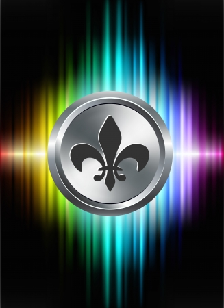 Fleur De Lis Icon Button on Abstract Spectrum BackgroundOriginal Illustration 일러스트