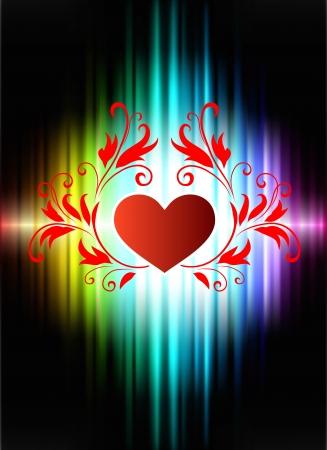 Floral Hearts on Abstract Spectrum BackgroundOriginal Illustration 向量圖像