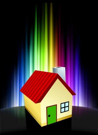 House on Abstract Spectrum BackgroundOriginal Illustration Stock Vector - 22490297