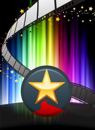 Star Button on Abstract Spectrum Background Original Illustration