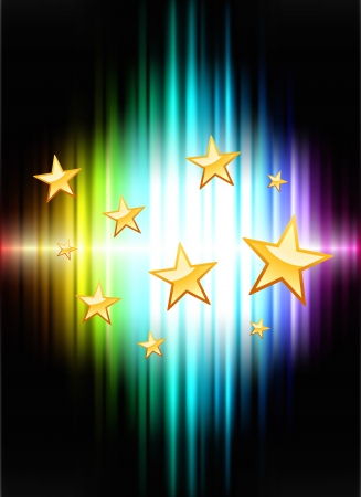 Stars on Abstract Spectrum Background  Original Illustration