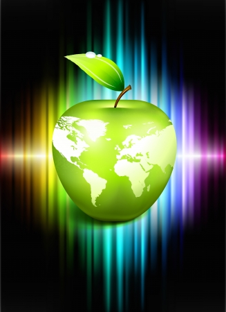 Apple Globe on Abstract Spectrum BackgroundOriginal Illustration