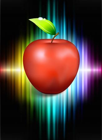 Apple on Abstract Spectrum BackgroundOriginal Illustration