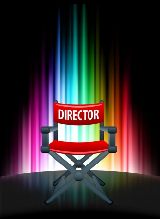 Director Chair on Abstract Spectrum Background Original Illustration