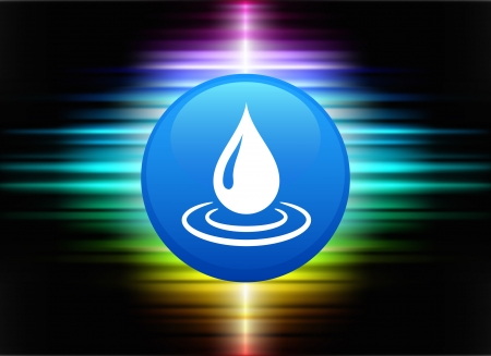 rain drop: Rain Drop Icon Button on Abstract Spectrum Background Original Illustration