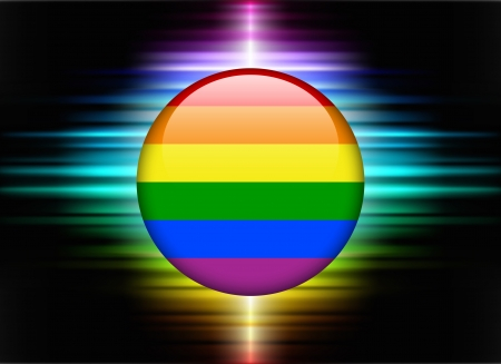 Gay Flag Icon Button on Abstract Spectrum Background Original Illustration