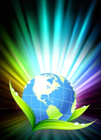 Globe on Abstract Spectrum Background Original Illustration
