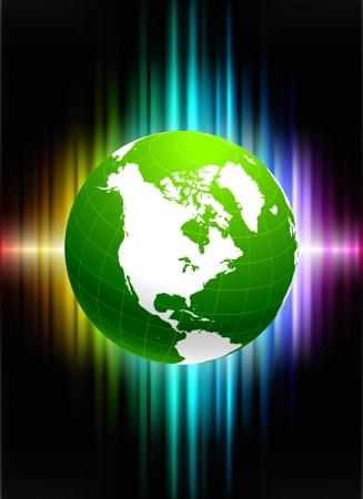 Globe on Abstract Spectrum BackgroundOriginal Illustration 向量圖像