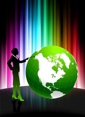 Businesswoman with Globe on Abstract Spectrum BackgroundOriginal Illustration Vectores