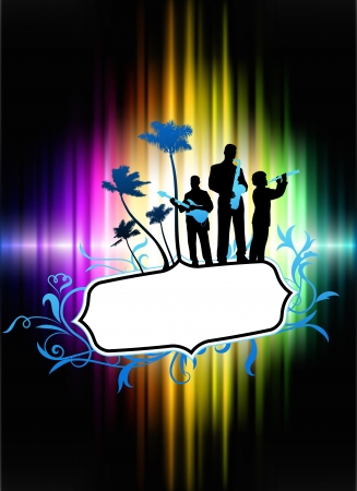Live Music Band on Abstract Tropical Frame with Spectrum  Original Illustration Vector