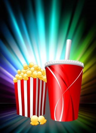 Popcorn and Soda on Abstract Spectrum BackgroundOriginal Illustration Stock Vector - 22444440
