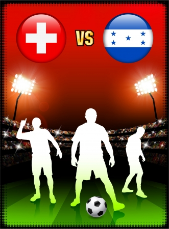 versus: Switzerland versus Honduras on Stadium Event Background Original Illustration