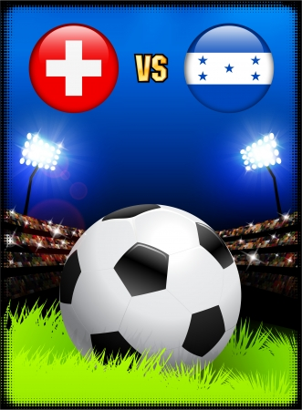 Switzerland versus Honduras on Soccer Stadium Event Background Original Illustration Vector