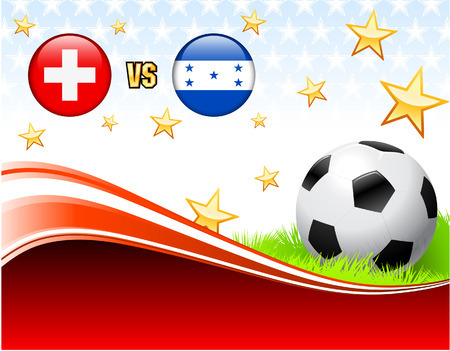 Switzerland versus Honduras on Abstract Red Background with Stars