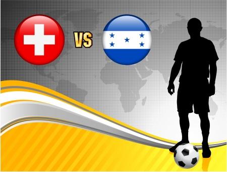 Switzerland versus Honduras on Abstract World Map Background Original Illustration