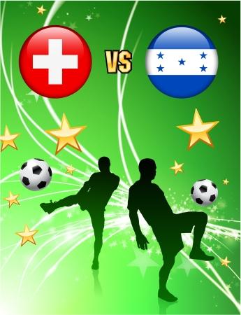 Switzerland versus Honduras on Abstract Green Stars Background Original Illustration Illustration
