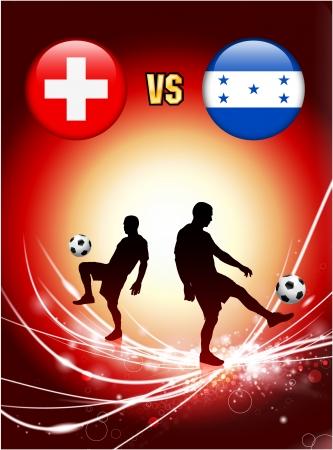 Switzerland versus Honduras on Abstract Red Light BackgroundOriginal Illustration Stock Vector - 22444483