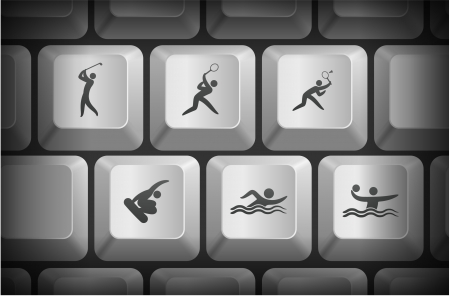 Sport Icons on Computer Keyboard Buttons Original Illustration Vector