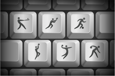 shortcut: Sport Icons on Computer Keyboard Buttons Original Illustration
