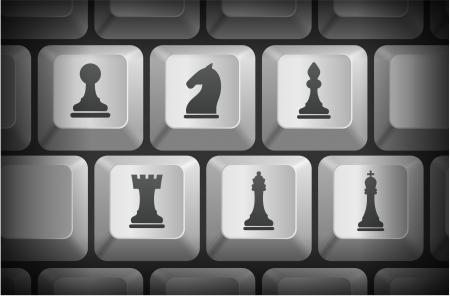 Icônes d'échecs sur ordinateur boutons du clavier Illustration originale Banque d'images - 22444486