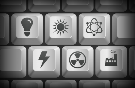Conservation Icons on Computer Keyboard Buttons Original Illustration
