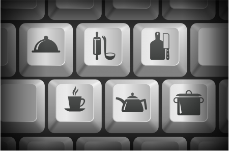 Food Preperation Icons on Computer Keyboard Buttons Original Illustration Vector