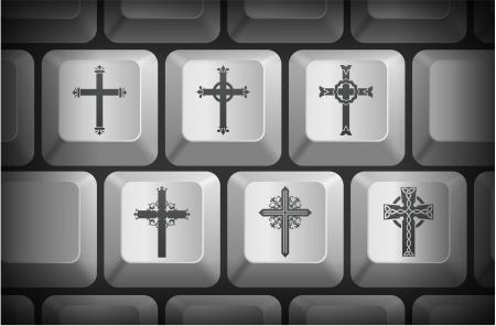 컴퓨터 키보드 버튼에 십자가 아이콘 원래 그림