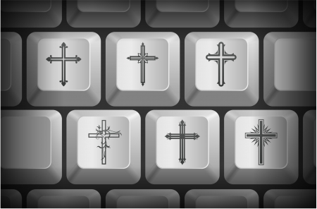 shortcut: Cross Icons on Computer Keyboard Buttons Original Illustration
