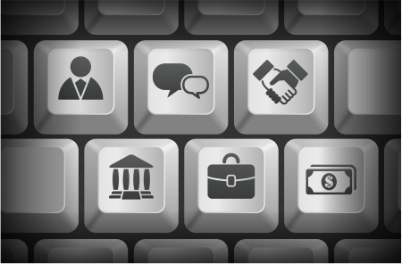 modern: Financial Icons on Computer Keyboard Buttons Original Illustration