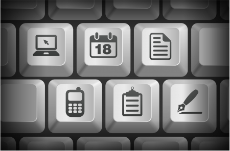 Equipment Icons on Computer Keyboard Buttons Original Illustration Vector