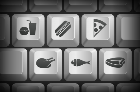 Food Icons on Computer Keyboard Buttons Original Illustration Vector