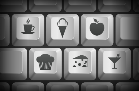Dessert Icons on Computer Keyboard Buttons