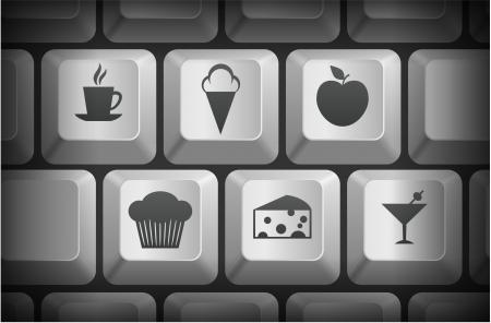 apple computer: Dessert Icons on Computer Keyboard Buttons Original Illustration