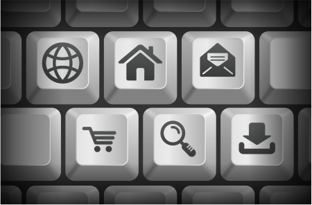 Internet Icons on Computer Keyboard Buttons Original Illustration Vector
