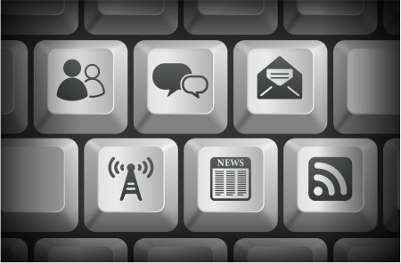 Internet Information Icons on Computer Keyboard Buttons Original Illustration Vector