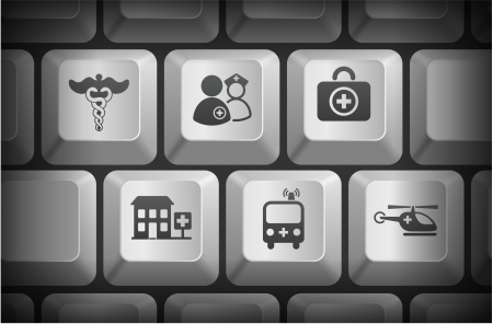 Emergency Icons on Computer Keyboard Buttons Original Illustration Vector