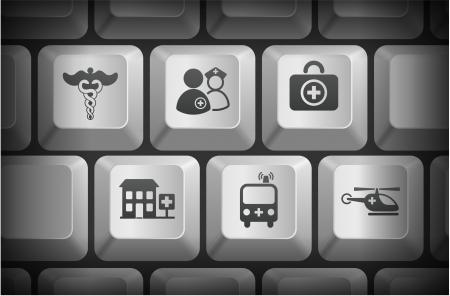 Emergency Icons on Computer Keyboard ButtonsOriginal Illustration