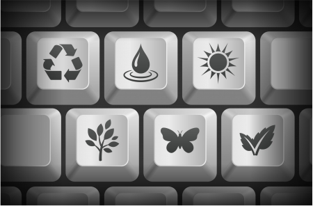 Nature Icons on Computer Keyboard Buttons