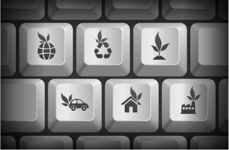 Ecology Icons on Computer Keyboard Buttons Original Illustration Vector
