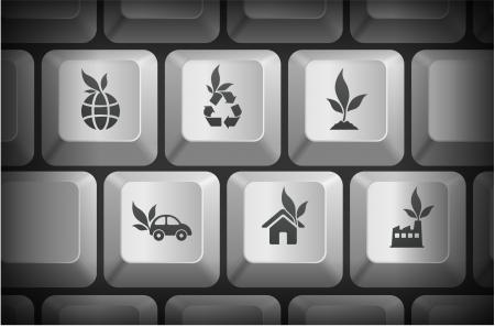 Ecology Icons on Computer Keyboard ButtonsOriginal Illustration Illusztráció