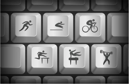 pommel: Athlete Icons on Computer Keyboard Buttons Original Illustration Illustration
